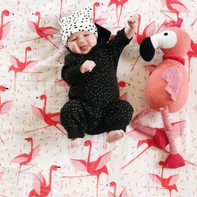 Dancing Flamingo Ballerina Muslin Baby Swaddle Blanket