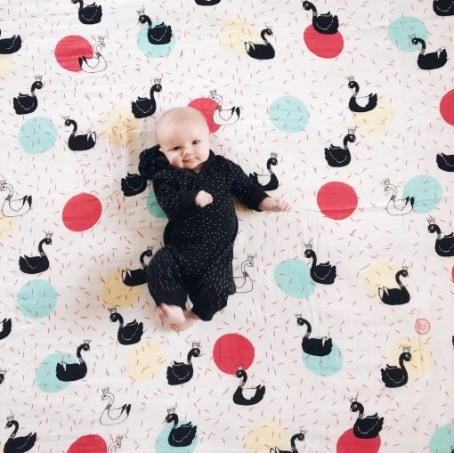 Swan Muslin Swaddle baby blanket Charlie Rowan Designs