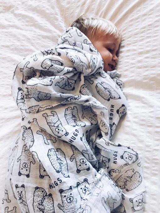 bear hugs muslin baby swaddle blanket Charlie Rowan Designs