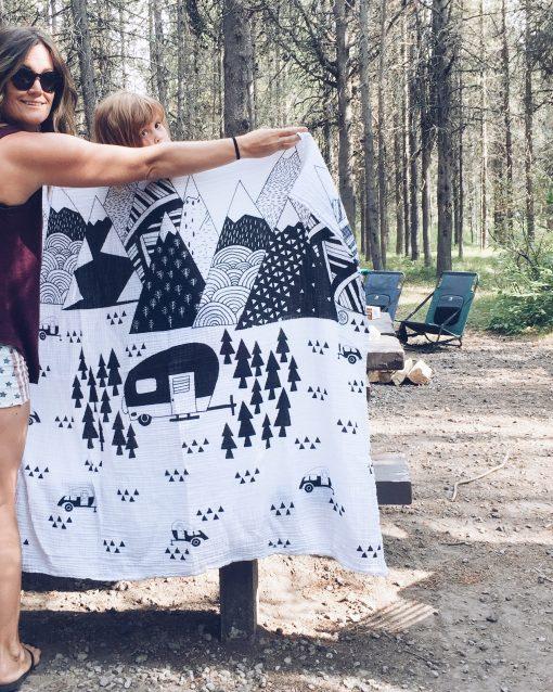 camper muslin baby swaddle blanket Charlie Rowan Designs