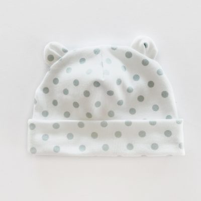 Green Polka Dot Newborn Baby Bear Hat by Charlie Rowan Designs