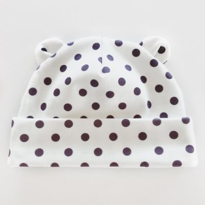 Purple Polka Dot Newborn Baby Bear Hat by Charlie Rowan Designs