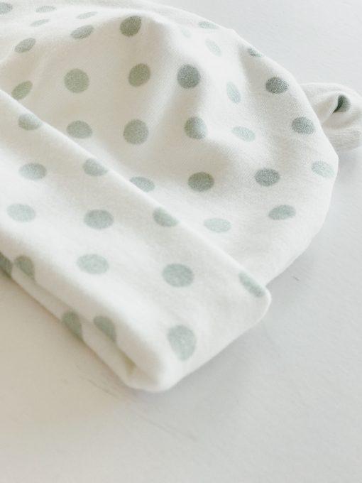 Green Polka Dot Newborn Baby Bear Hat by Charlie Rowan Designs