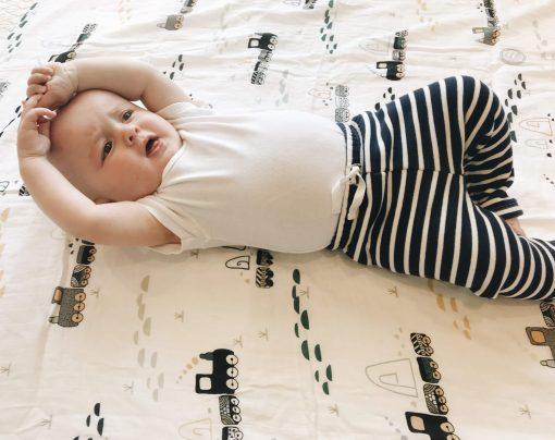 Trains muslin baby swaddle blanket Charlie Rowan Designs