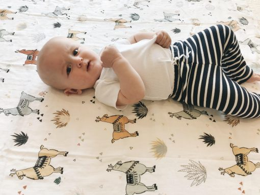 Llama muslin baby swaddle blanket Charlie Rowan Designs