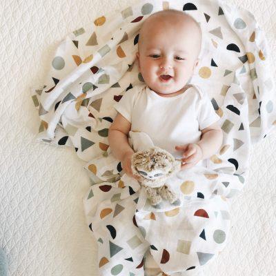 Terrazzo muslin baby swaddle blanket Charlie Rowan Designs